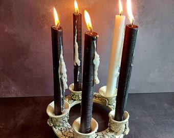 Victorian ceramic candlelabra candlestick, Gothic candlestick, vintage design candlestick, gothic ceramic candlestick, gothic candlestick