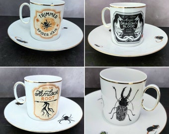 Apothecary espresso cups saucers, witch's brew cups, Halloween espresso set, goth wedding gift, gothic wedding, spooky mug, insects, rats