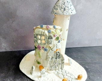 G. Witchy Cottage Lantern, Fairy Cottage tealight lantern, candle cottage, witch's cottage, witch cottage lantern, goth gift, witchy gift