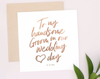 Wedding greeting cards etsy to my bride or groom on our wedding day personalised wedding day card bride wife groom husband handsome keepsake real metallic foil m4hsunfo