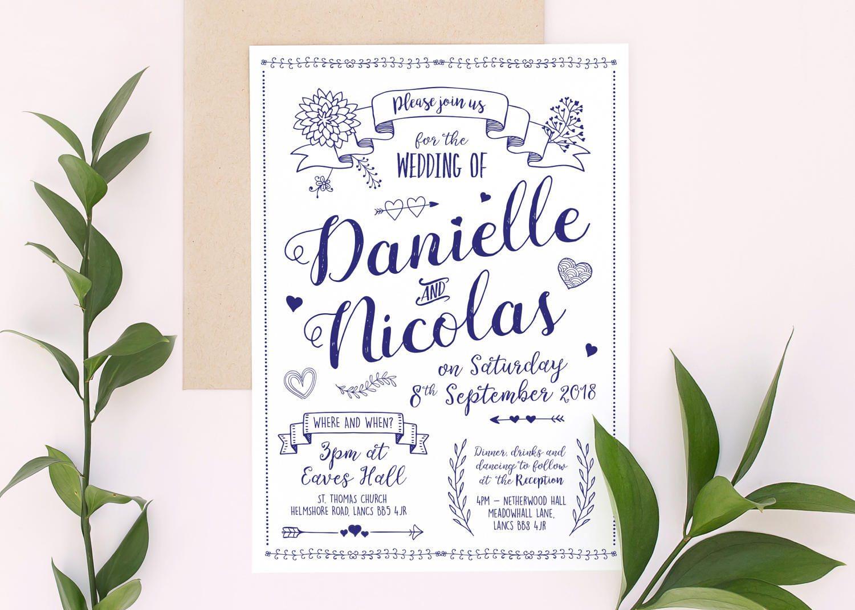 Quirky Wedding Invitation: Quirky Biro Wedding Invitation Stationery Invites Save The