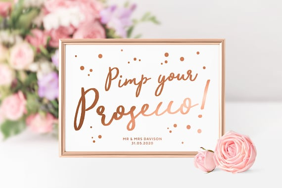 Autumn Leaves Pimp Your Prosecco Personalised Wedding Sign