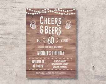 60th birthday invitations for men etsy cheers and beers to 60 years birthday invitation printable rustic cheers beers 60th birthday party invite sixty bday celebration filmwisefo
