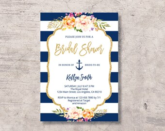 0ea9c2497b8d Nautical Bridal Shower Invitation Printable