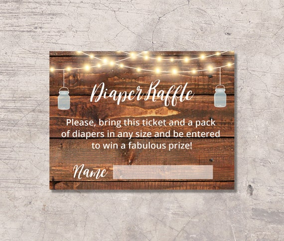 Mason Jar Diaper Raffle Ticket Baby Shower Printable Rustic Etsy