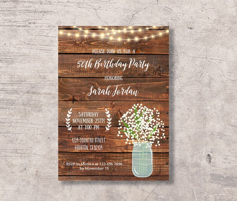 Rustic 50th Birthday Invitation Printable Mason Jar 50