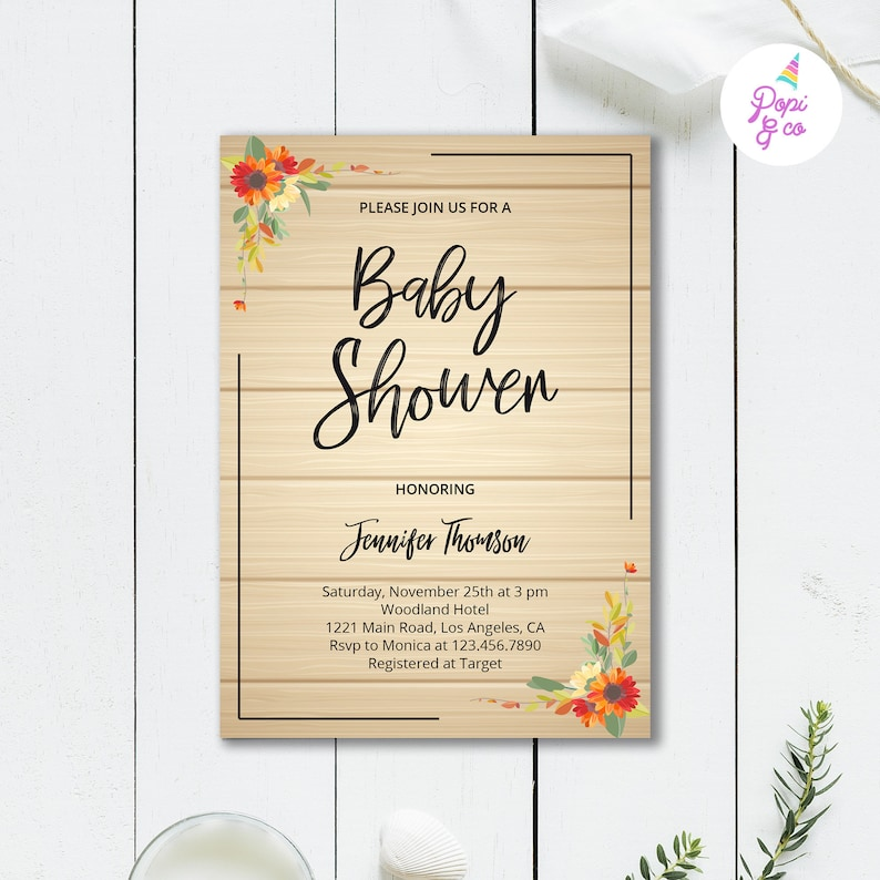 graphic regarding Baby Shower Invitation Printable titled Autumn Kid Shower Invitation Printable, Rustic Picket Drop autumn leaves kid shower invite, immediate obtain electronic document editable template