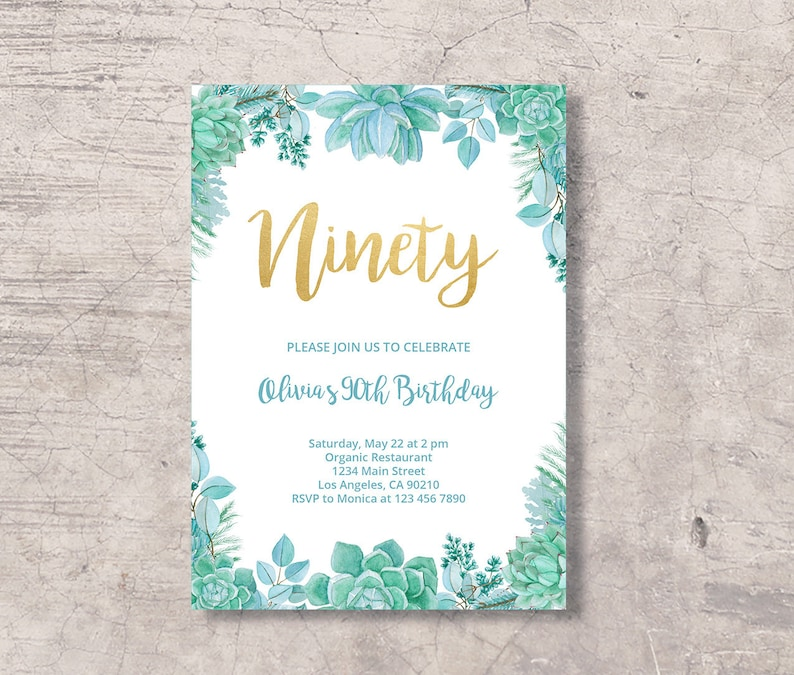 Succulent 90th Birthday Invitation Printable Mint Green Gold