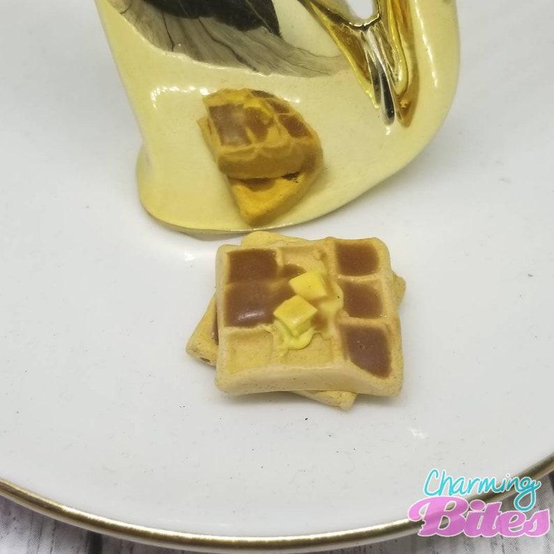 Miniature Food Jewelry Cute Food Jewelry,Unique Miniature Jewelry,Tiny Fake Food Waffle with Syrup Polymer Clay Jewelry