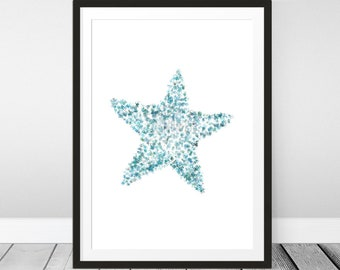 Starfish Printable, Trendy Summer Print, Watercolor Starfish, Turquoise Print, Bathroom Decor, Rustic Beach Print, Nautical Decor, Ocean Art