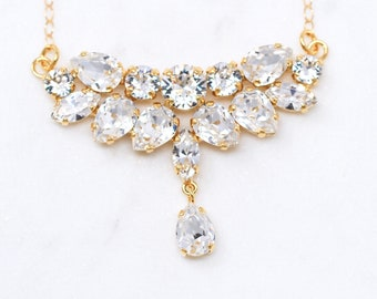 Bridal Necklace, Swarovski Bridal Necklace, Crystal Clear, Gold Setting , Cluster Necklace Bridal Jewelry Wedding Necklace Bride Swarovski
