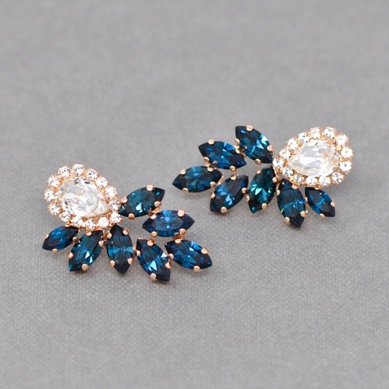 8102de939 Navy Blue Diamond Cluster Post Dangle Earrings Swarovski | Etsy