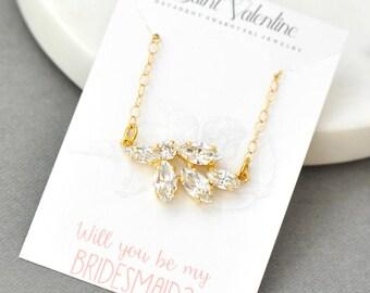 Bridesmaids Necklace, Simple Pendant Necklace, Swarovski Crystal Necklace, Cluster Necklace, White diamond, Bridal Jewelry, Bride, Wedding