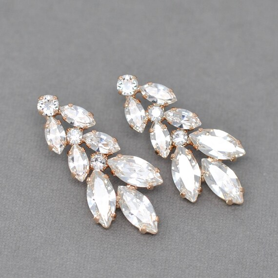 496abec18f5be Rose Gold Chandelier Earrings, Swarovski Crystal Clear Diamond Marquise  Rhinestone Dangle Stud Post Earrings Christmas Gift Holiday Sparkle