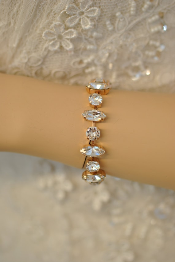 Diamond Marquise Rose Gold Bracelet Swarovski Crystal