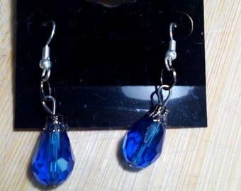 Blue teardrop bracelet earring set