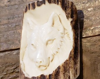 Real Deer Antler Carved Wolf Pendant Necklace Tribal Stag Jewelry Rustic Hunting Nature Wild (N407)