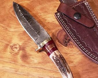 Hunting Knife Deer Antler Handle Damascus Stag Horn Outdoors (K683)