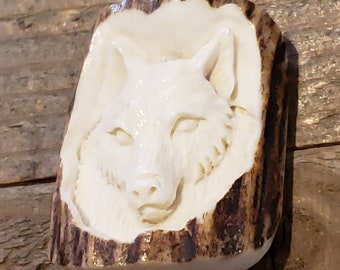 Real Deer Antler Carved Wolf Pendant Necklace Tribal Stag Jewelry Rustic Hunting Nature Wild (N381)