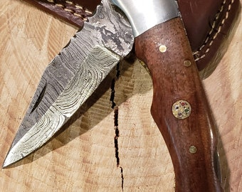 Rose Wood Wood Handle Folding Pocket Knife Damascus Blade Collection With Leather Sheath Outdoors (K211)