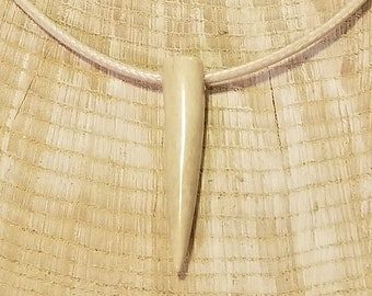 Real Deer Antler Tine Tip Pendant Leather Necklace Native American Tribal Collection Hunting Outdoors (N337)