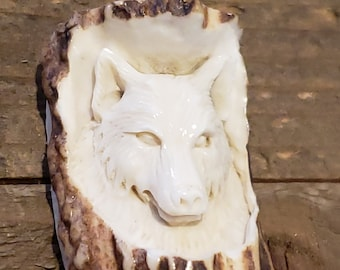 Real Deer Antler Carved Wolf Pendant Necklace Tribal Stag Jewelry Rustic Hunting Nature Wild (N382)