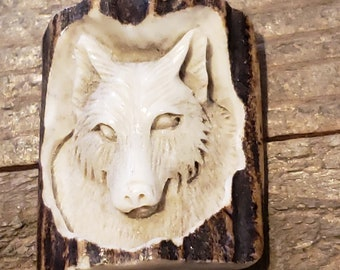 Real Deer Antler Carved Wolf Pendant Necklace Tribal Stag Jewelry Rustic Hunting Nature Wild (N406)