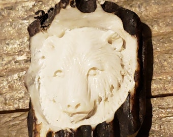 Real Deer Antler Carved Bear Pendant Necklace Tribal Stag Jewelry Rustic Hunting Nature Wild (N318)