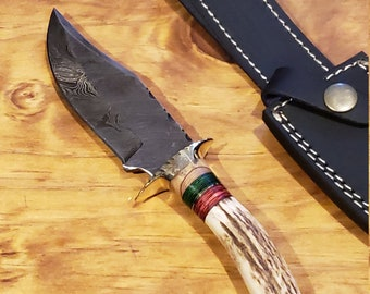 Hunting Knife Deer Antler Handle Damascus Stag Horn Outdoors (K392)
