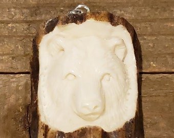 Real Deer Antler Carved Bear Pendant Necklace Tribal Stag Jewelry Rustic Hunting Nature Wild (N324)