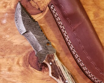Hunting Knife Deer Antler Handle Damascus Stag Horn Outdoors (K533)