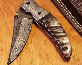 Folding Pocket Knife Ram Horn Damascus Outdoor Tools (K425)