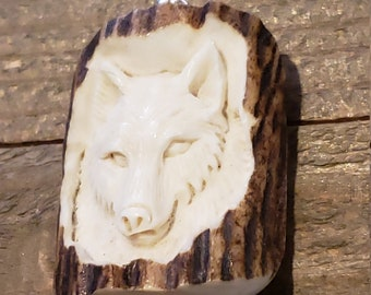 Real Deer Antler Carved Wolf Pendant Necklace Tribal Stag Jewelry Rustic Hunting Nature Wild (N383)