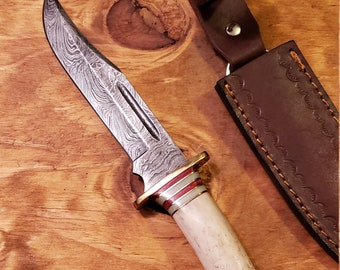 Hunting Knife Deer Antler Handle Damascus Stag Horn Outdoors (K537)