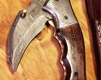Folding Pocket Knife Rose Wood Handle Damascus Karambit Outdoors Tools (K435)