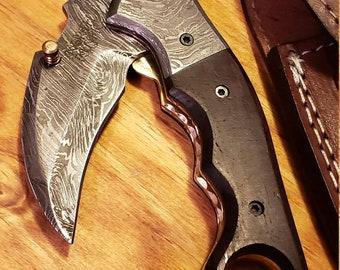 Folding Pocket Knife Rose Wood Handle Damascus Karambit Outdoors Tools (K434)