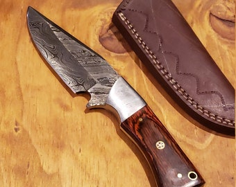 Rose Wood Handle Hunting Knife Damascus Blade With Leather Sheath Outdoors Tools (K369)