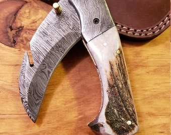 Folding Pocket Knife Deer Antler Stag Horn Handle Damascus Karambit (K520)
