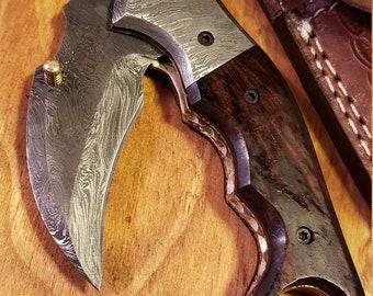Folding Pocket Knife Rose Wood Handle Damascus Karambit Outdoors Tools (K436)