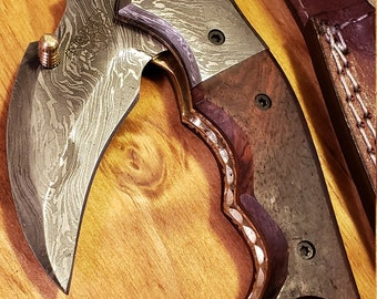 Folding Pocket Knife Rose Wood Handle Damascus Karambit Outdoors Tools (K437)