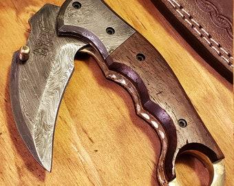 Folding Pocket Knife Rose Wood Handle Damascus Karambit Outdoors Tools (K433)