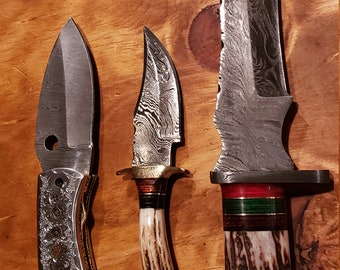 Deer Antler Handle Hunting Knife Damascus Bowie Skinner Folding Set Stag Horn Collection Premium Outdoors Tools (K634)