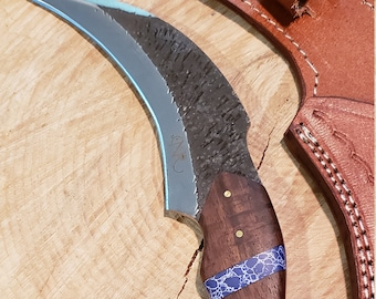 Hunting Karambit Knife Rose Wood Blue Turquoise Handle Hammered Steel (J48)