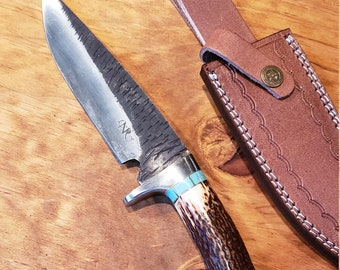 Hunting Knife Deer Antler Turquoise Handle Hammered Stainless Stag Horn Outdoors Tools (J4)