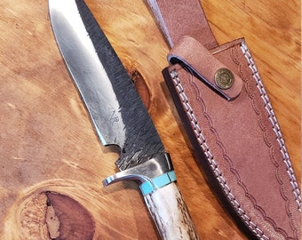Hunting Knife Deer Antler Turquoise Handle Hammered Stainless Stag Horn Outdoors Tools (J2)