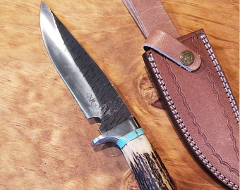 Hunting Knife Deer Antler Turquoise Handle Hammered Stainless Stag Horn Outdoors Tools (J3)