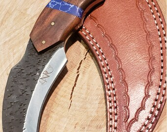Hunting Karambit Knife Rose Wood Blue Turquoise Handle Hammered Steel (J50)