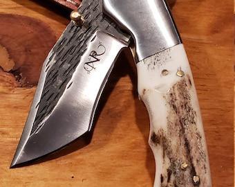 Folding Pocket Knife Deer Antler Stag Horn Hammered Steel Outdoors Tools (J13)