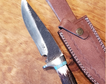 Hunting Knife Deer Antler Turquoise Handle Hammered Stainless Stag Horn Outdoors Tools (J1)