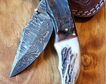 Folding Pocket Knife Deer Antler Stag & Ram Horn Damascus Outdoor Tools (K654)